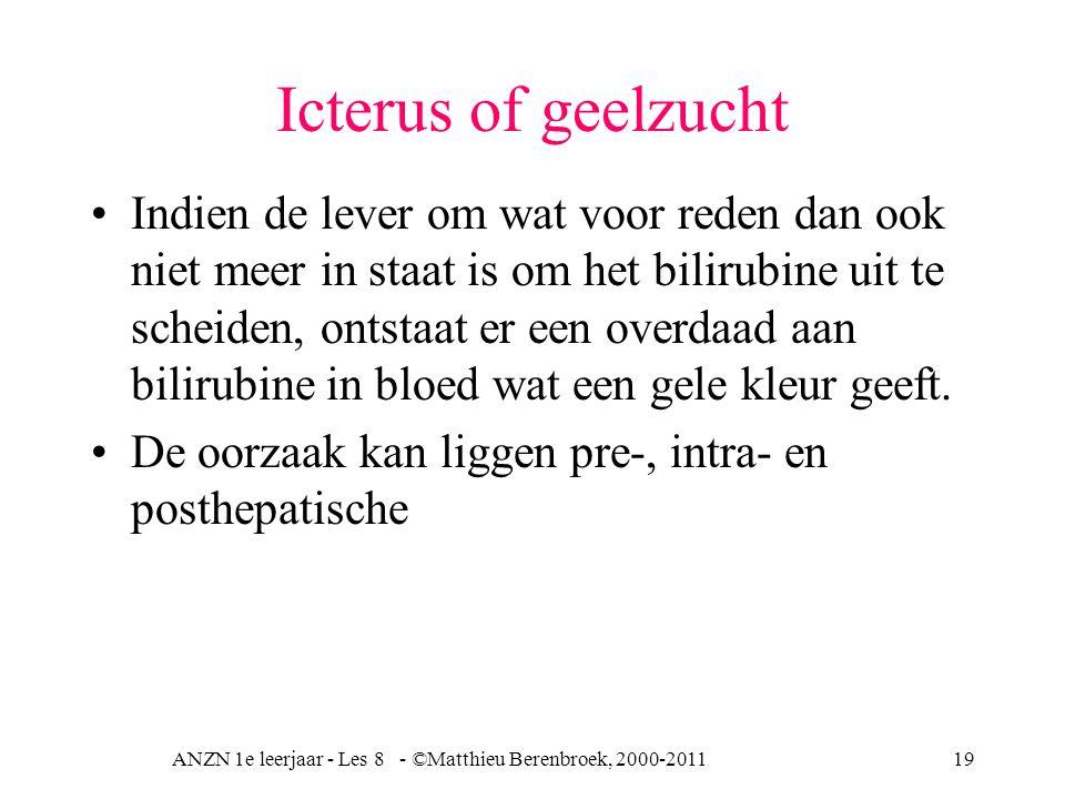 ANZN 1e leerjaar - Les 8 - ©Matthieu Berenbroek, 2000-201119 Icterus of geelzucht Indien de lever om wat voor reden dan ook niet meer in staat is om h