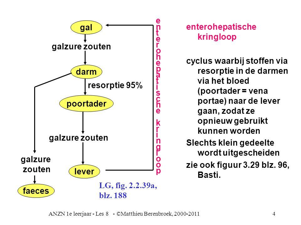ANZN 1e leerjaar - Les 8 - ©Matthieu Berenbroek, 2000-20114 enterohepatische kringloop cyclus waarbij stoffen via resorptie in de darmen via het bloed (poortader = vena portae) naar de lever gaan, zodat ze opnieuw gebruikt kunnen worden Slechts klein gedeelte wordt uitgescheiden zie ook figuur 3.29 blz.