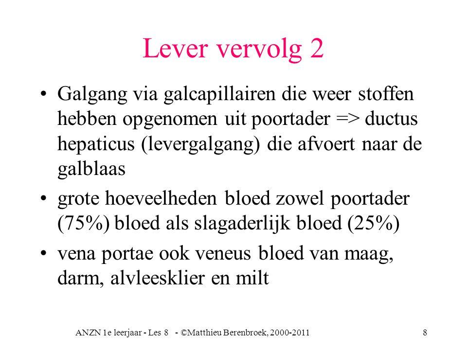 ANZN 1e leerjaar - Les 8 - ©Matthieu Berenbroek, 2000-20118 Lever vervolg 2 Galgang via galcapillairen die weer stoffen hebben opgenomen uit poortader => ductus hepaticus (levergalgang) die afvoert naar de galblaas grote hoeveelheden bloed zowel poortader (75%) bloed als slagaderlijk bloed (25%) vena portae ook veneus bloed van maag, darm, alvleesklier en milt