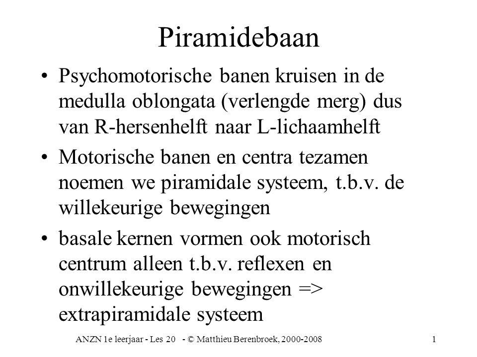 ANZN 1e leerjaar - Les 20 - © Matthieu Berenbroek, 2000-20081 Piramidebaan Psychomotorische banen kruisen in de medulla oblongata (verlengde merg) dus van R-hersenhelft naar L-lichaamhelft Motorische banen en centra tezamen noemen we piramidale systeem, t.b.v.