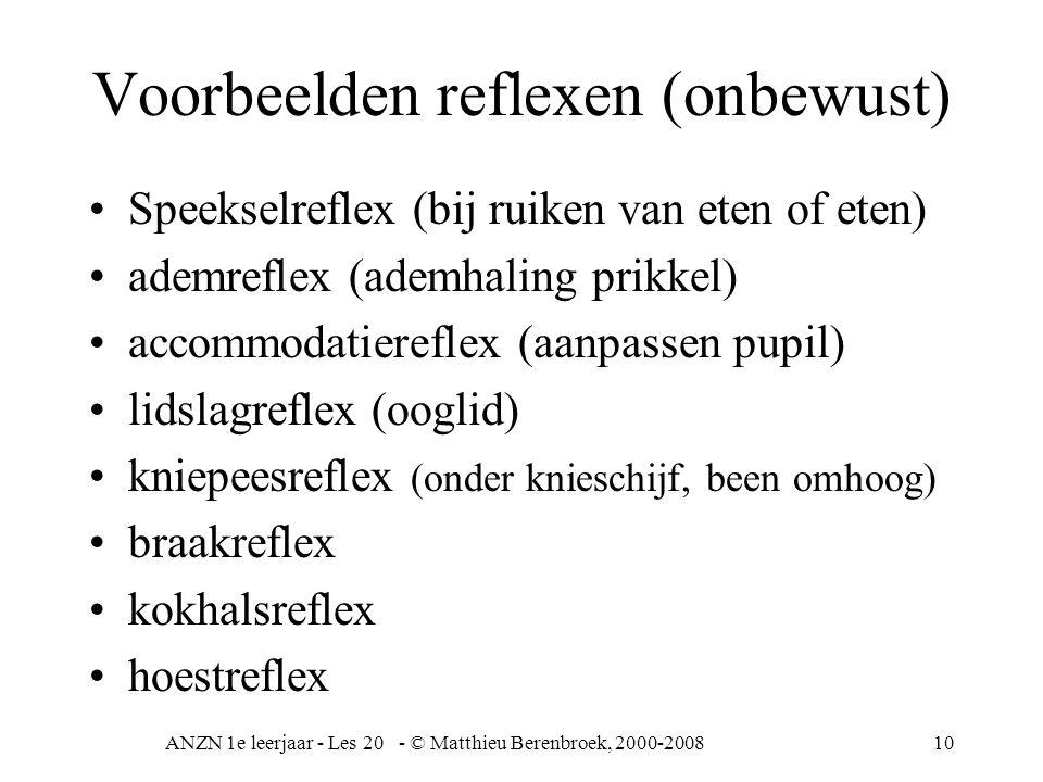 ANZN 1e leerjaar - Les 20 - © Matthieu Berenbroek, 2000-200810 Voorbeelden reflexen (onbewust) Speekselreflex (bij ruiken van eten of eten) ademreflex (ademhaling prikkel) accommodatiereflex (aanpassen pupil) lidslagreflex (ooglid) kniepeesreflex (onder knieschijf, been omhoog) braakreflex kokhalsreflex hoestreflex