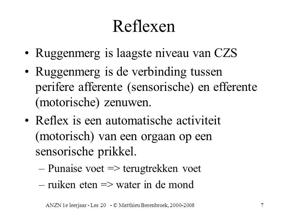 ANZN 1e leerjaar - Les 20 - © Matthieu Berenbroek, 2000-20087 Reflexen Ruggenmerg is laagste niveau van CZS Ruggenmerg is de verbinding tussen perifere afferente (sensorische) en efferente (motorische) zenuwen.
