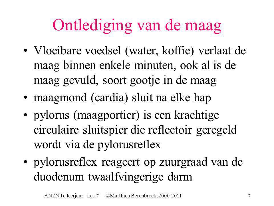 ANZN 1e leerjaar - Les 7 - ©Matthieu Berenbroek, 2000-20118 Duodenum Zure brok eten zet het duodenum aan tot productie pancreassap (alkalisch > 7, basisch) wat de zuurgraad laat dalen en pH stijgen en dus neutraliseert NaHCO 3 (natriumbicarbonaat, Na + HCO 3 - ) uit pancreassap is de buffer van zure maagsap koolhydraten verlaten maag als eerste eiwitten en vetten als laatste (1 tot 5 uur) vetten trager doordat neutralisatie van vetzuren meer tijd vergt