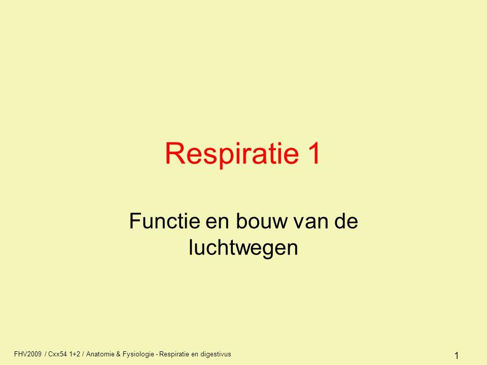 FHV2009 / Cxx54 1+2 / Anatomie & Fysiologie - Respiratie en digestivus 32 Effectiviteit van de ademhaling ventilatie is de aanvoer van de lucht naar de longblaasjes diffusie is de gasuitwisseling, via drukverschillen, O2 van alveolus => bloed en CO2 van bloed => longblaasje perfusie doorstroming arterie (bloed) en het transport van O2 en CO2 Zowel ventilatie, als diffusie als perfusie zijn nodig voor een goede ademhaling van de longen.