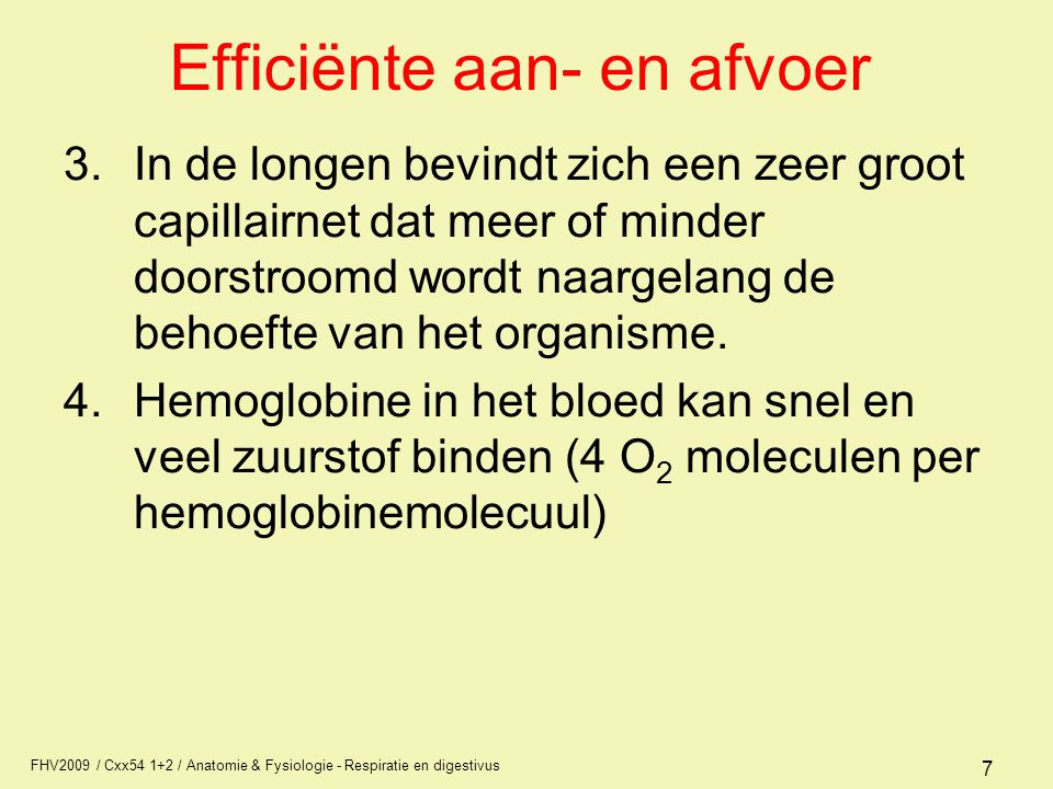 FHV2009 / Cxx54 1+2 / Anatomie & Fysiologie - Respiratie en digestivus 7 Efficiënte aan- en afvoer 3.In de longen bevindt zich een zeer groot capillai