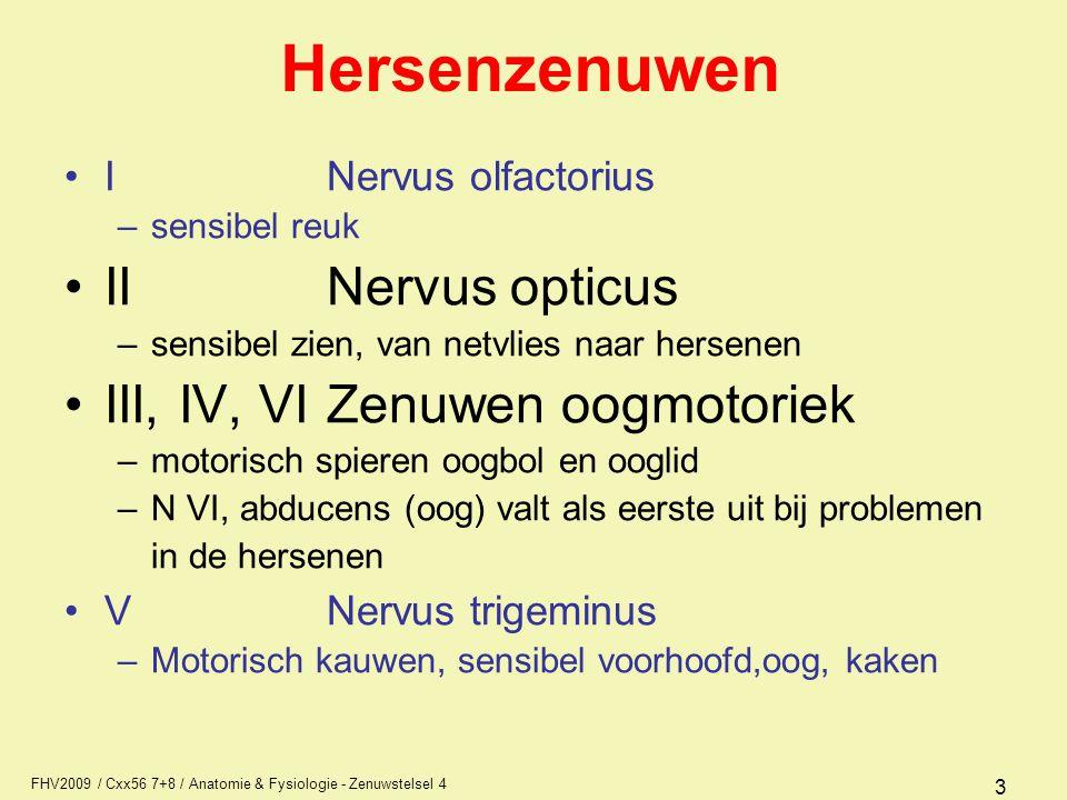 FHV2009 / Cxx56 7+8 / Anatomie & Fysiologie - Zenuwstelsel 4 34 Bestaande uit drie lagen, buiten naar binnen: –dura mater (harde hersenvlies) ligt binnenzijde tegen de schedel, verdubbelingen geven sinus (holte.bocht, buis) systeem van buizen voor bloeduitwisseling –arachnoidea (spinnenwebvlies) dun vlies, weinig bloedvaten –pia mater (zachte hersenvlies) veel bloedvaten, volgt hele hersenoppervlak inclusief windingen en groeven Meningen (hersenvliezen)