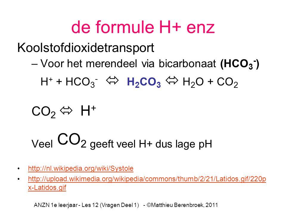 de formule H+ enz Koolstofdioxidetransport –Voor het merendeel via bicarbonaat (HCO 3 - ) H + + HCO 3 -  H 2 CO 3  H 2 O + CO 2 CO 2  H + Veel CO 2 geeft veel H+ dus lage pH http://nl.wikipedia.org/wiki/Systole http://upload.wikimedia.org/wikipedia/commons/thumb/2/21/Latidos.gif/220p x-Latidos.gifhttp://upload.wikimedia.org/wikipedia/commons/thumb/2/21/Latidos.gif/220p x-Latidos.gif ANZN 1e leerjaar - Les 12 (Vragen Deel 1) - ©Matthieu Berenbroek, 2011
