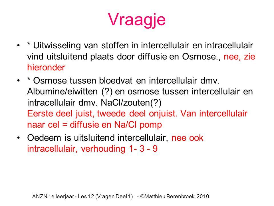 Vraagje * Uitwisseling van stoffen in intercellulair en intracellulair vind uitsluitend plaats door diffusie en Osmose., nee, zie hieronder * Osmose t