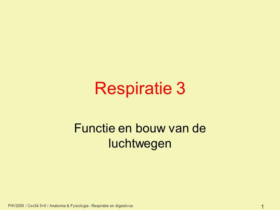 FHV2009 / Cxx54 5+6 / Anatomie & Fysiologie - Respiratie en digestivus 22 Ademhalingsfrequentie Bradypnoe –langzame ademhaling Tachypnoe –snelle ademhaling