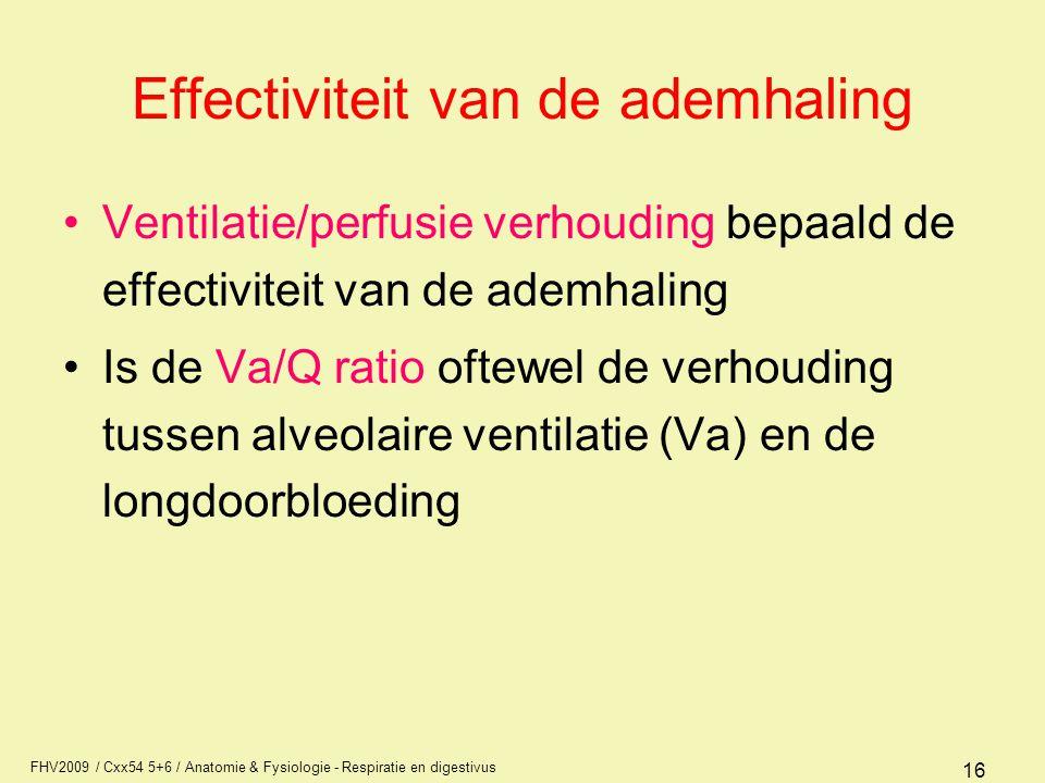 FHV2009 / Cxx54 5+6 / Anatomie & Fysiologie - Respiratie en digestivus 16 Effectiviteit van de ademhaling Ventilatie/perfusie verhouding bepaald de ef