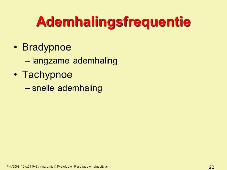 FHV2009 / Cxx54 5+6 / Anatomie & Fysiologie - Respiratie en digestivus 22 Ademhalingsfrequentie Bradypnoe –langzame ademhaling Tachypnoe –snelle ademh