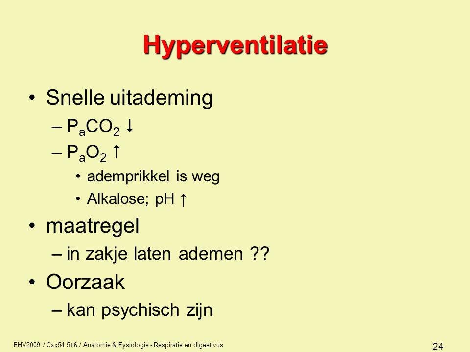FHV2009 / Cxx54 5+6 / Anatomie & Fysiologie - Respiratie en digestivus 24 Hyperventilatie Snelle uitademing –P a CO 2  –P a O 2  ademprikkel is weg