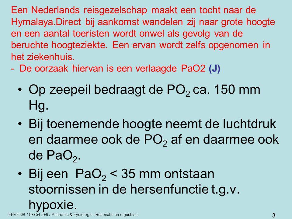 FHV2009 / Cxx54 5+6 / Anatomie & Fysiologie - Respiratie en digestivus 24 Hyperventilatie Snelle uitademing –P a CO 2  –P a O 2  ademprikkel is weg Alkalose; pH ↑ maatregel –in zakje laten ademen ?.