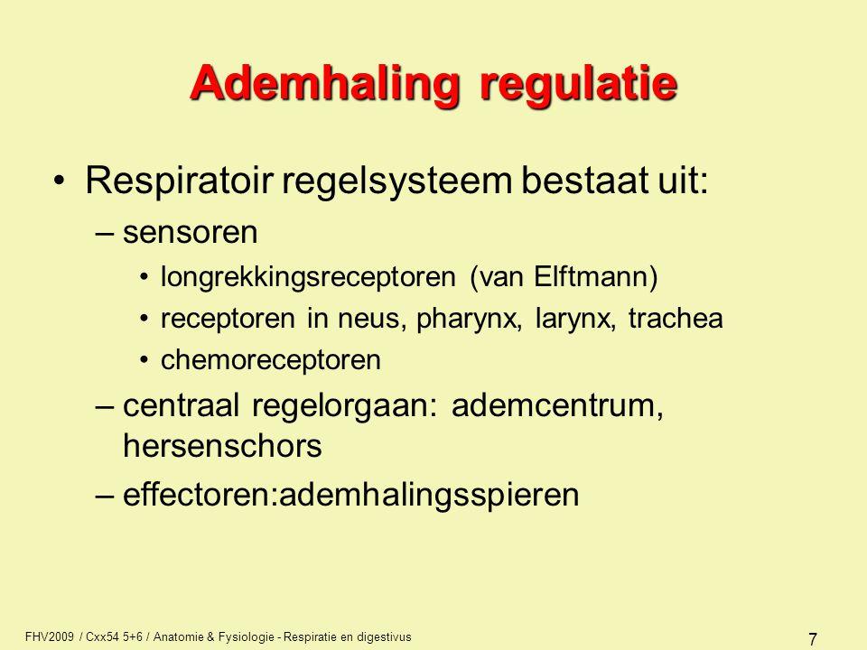 FHV2009 / Cxx54 5+6 / Anatomie & Fysiologie - Respiratie en digestivus 8 Ademhaling regulatie Drukreceptoren of longrekkingsreceptoren –bepaalde rekking  inspiratie verminderd en stopt tenslotte (reflex van Hering en Breuer) waarna expiratie volgt.