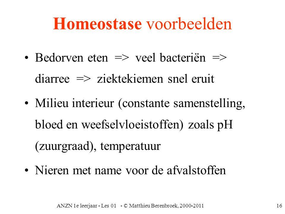 ANZN 1e leerjaar - Les 01 - © Matthieu Berenbroek, 2000-201116 Homeostase voorbeelden Bedorven eten => veel bacteriën => diarree => ziektekiemen snel