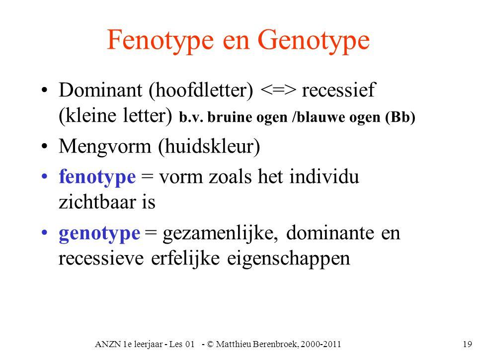 ANZN 1e leerjaar - Les 01 - © Matthieu Berenbroek, 2000-201119 Fenotype en Genotype Dominant (hoofdletter) recessief (kleine letter) b.v. bruine ogen