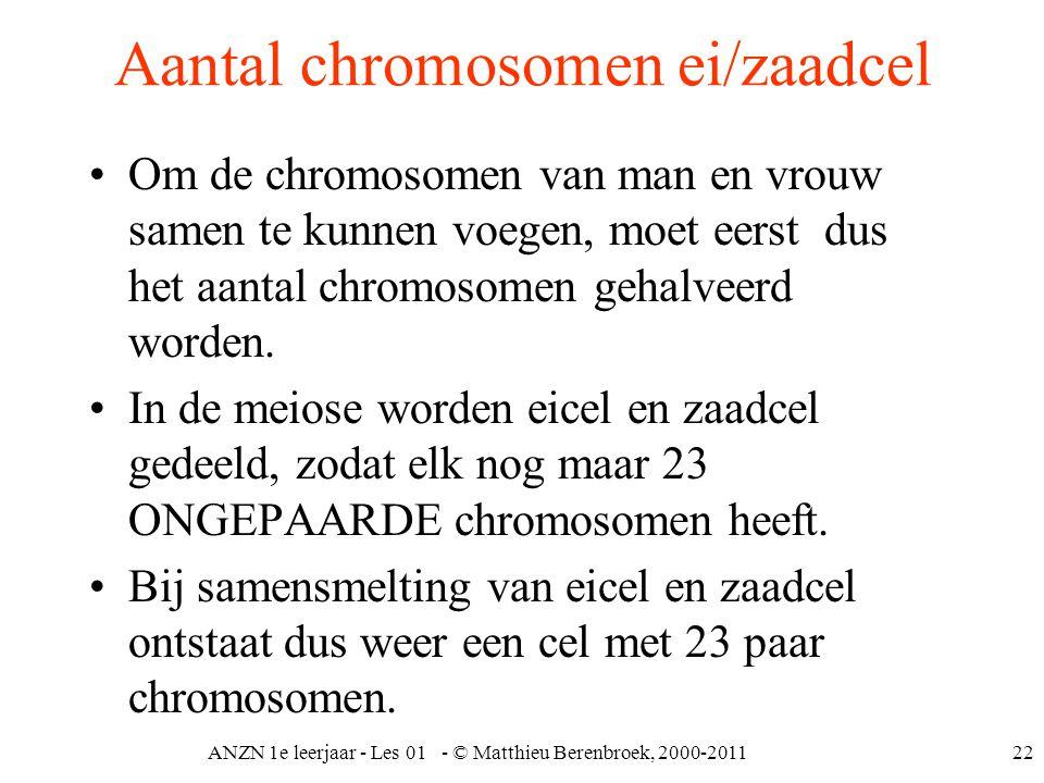 ANZN 1e leerjaar - Les 01 - © Matthieu Berenbroek, 2000-201122 Aantal chromosomen ei/zaadcel Om de chromosomen van man en vrouw samen te kunnen voegen