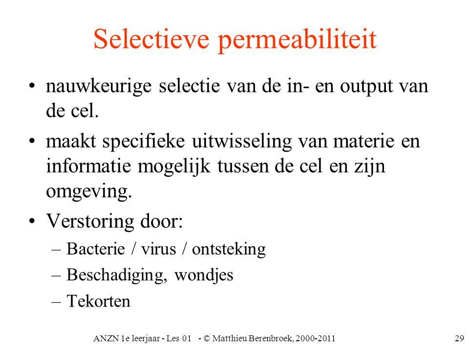 ANZN 1e leerjaar - Les 01 - © Matthieu Berenbroek, 2000-201129 Selectieve permeabiliteit nauwkeurige selectie van de in- en output van de cel. maakt s