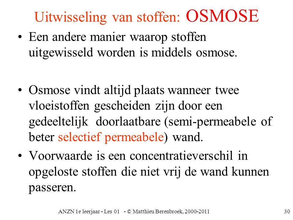 ANZN 1e leerjaar - Les 01 - © Matthieu Berenbroek, 2000-201130 Uitwisseling van stoffen: OSMOSE Een andere manier waarop stoffen uitgewisseld worden i