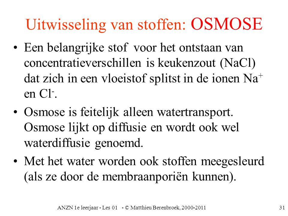 ANZN 1e leerjaar - Les 01 - © Matthieu Berenbroek, 2000-201131 Uitwisseling van stoffen: OSMOSE Een belangrijke stof voor het ontstaan van concentrati