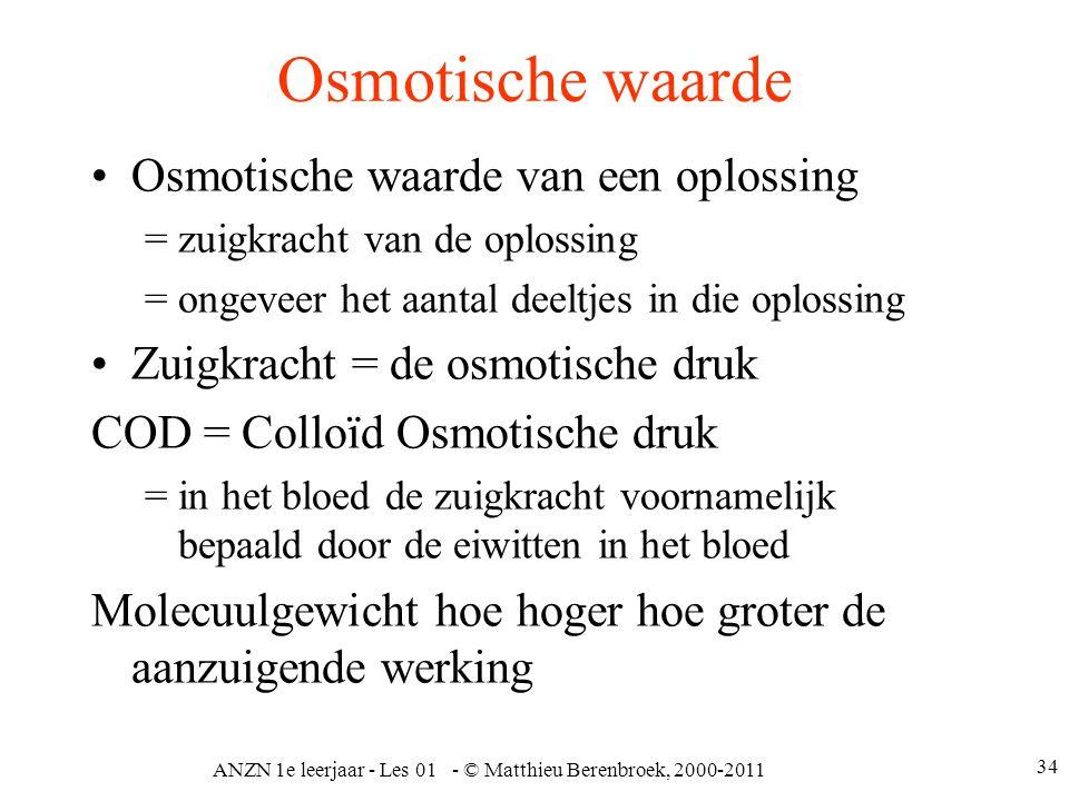 ANZN 1e leerjaar - Les 01 - © Matthieu Berenbroek, 2000-2011 34 Osmotische waarde Osmotische waarde van een oplossing = zuigkracht van de oplossing =