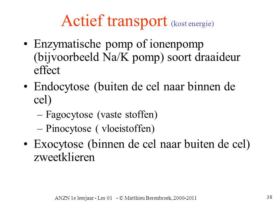 ANZN 1e leerjaar - Les 01 - © Matthieu Berenbroek, 2000-2011 38 Actief transport (kost energie) Enzymatische pomp of ionenpomp (bijvoorbeeld Na/K pomp