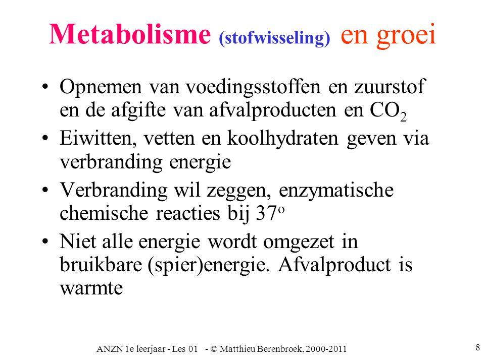 ANZN 1e leerjaar - Les 01 - © Matthieu Berenbroek, 2000-2011 8 Metabolisme (stofwisseling) en groei Opnemen van voedingsstoffen en zuurstof en de afgi