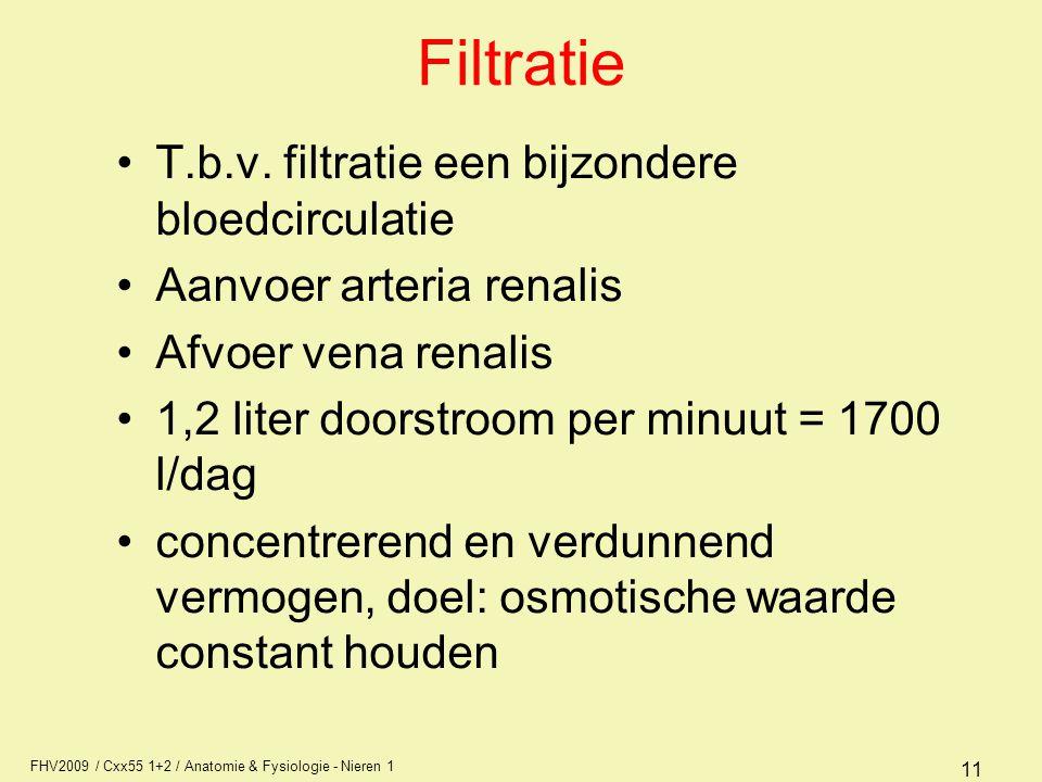 FHV2009 / Cxx55 1+2 / Anatomie & Fysiologie - Nieren 1 11 Filtratie T.b.v. filtratie een bijzondere bloedcirculatie Aanvoer arteria renalis Afvoer ven