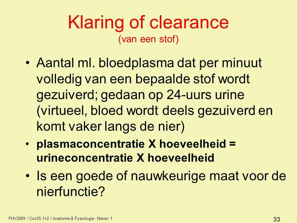 FHV2009 / Cxx55 1+2 / Anatomie & Fysiologie - Nieren 1 33 Klaring of clearance (van een stof) Aantal ml. bloedplasma dat per minuut volledig van een b