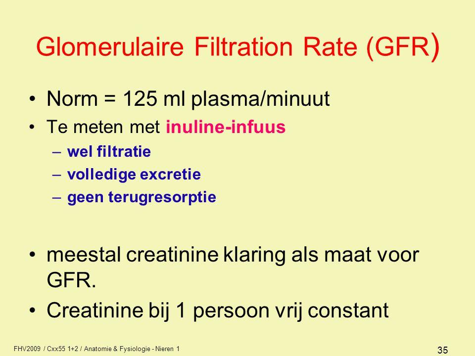 FHV2009 / Cxx55 1+2 / Anatomie & Fysiologie - Nieren 1 35 Glomerulaire Filtration Rate (GFR ) Norm = 125 ml plasma/minuut Te meten met inuline-infuus