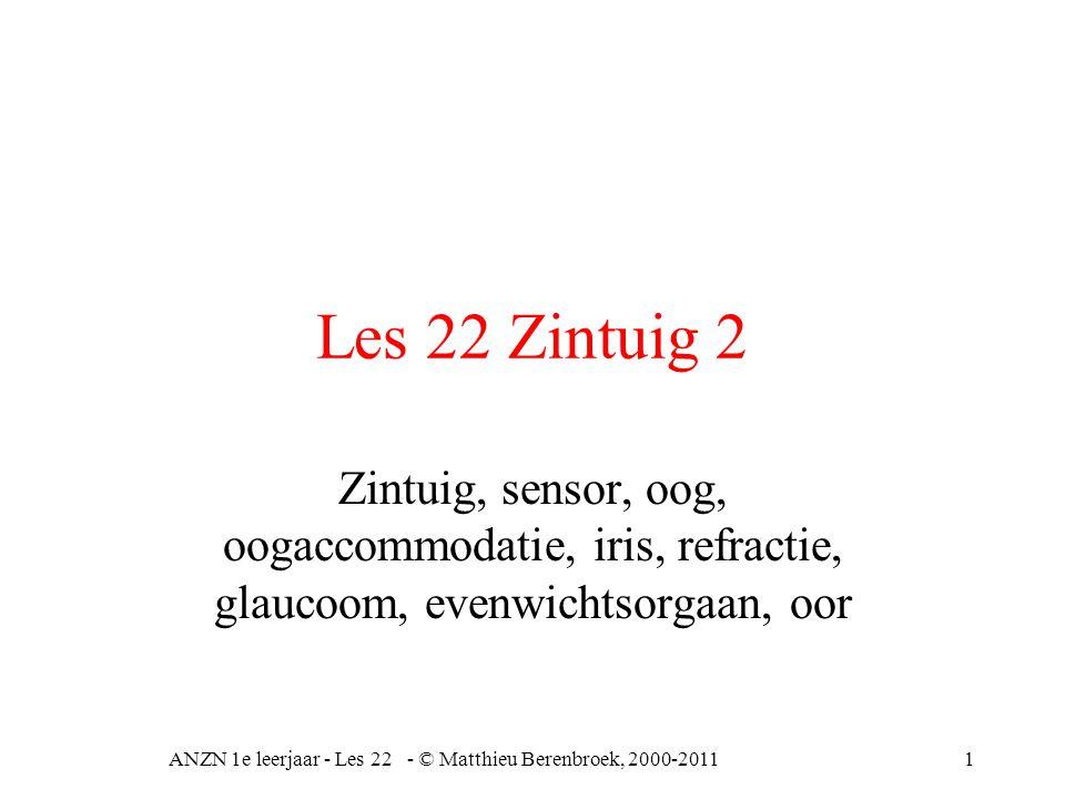 ANZN 1e leerjaar - Les 22 - © Matthieu Berenbroek, 2000-201112 Refractie afwijkingen Myopie = bijziendheid, optische as in te lang hypermetropie = verziendheid, optische as is tekort astigmatisme = cilinderstoring in het zien.