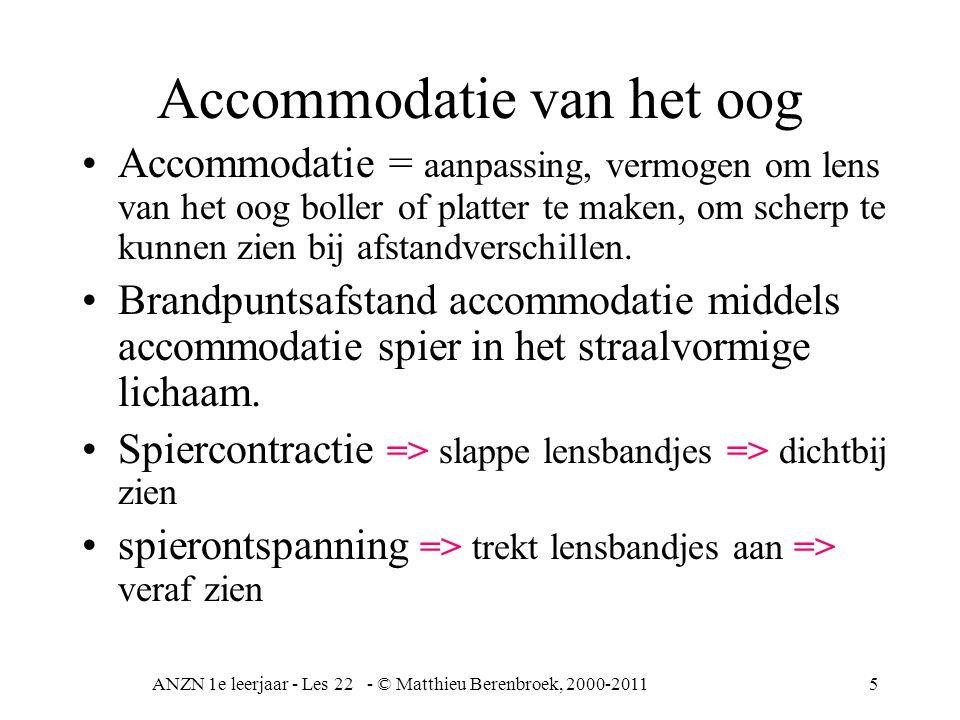 ANZN 1e leerjaar - Les 22 - © Matthieu Berenbroek, 2000-20115 Accommodatie van het oog Accommodatie = aanpassing, vermogen om lens van het oog boller
