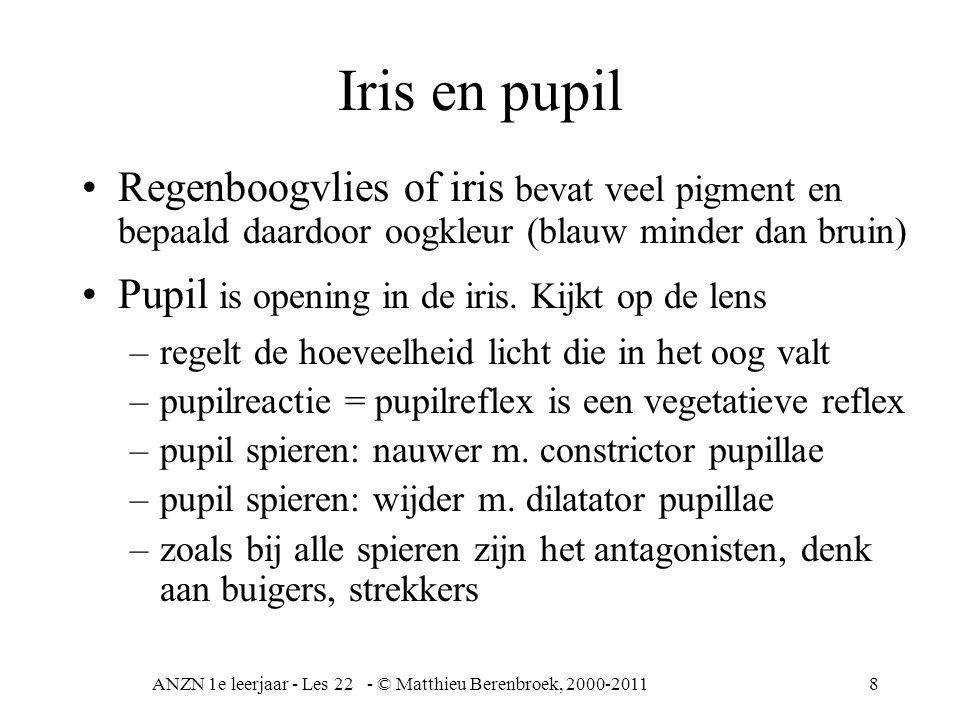 8 Iris en pupil Regenboogvlies of iris bevat veel pigment en bepaald daardoor oogkleur (blauw minder dan bruin) Pupil is opening in de iris. Kijkt op