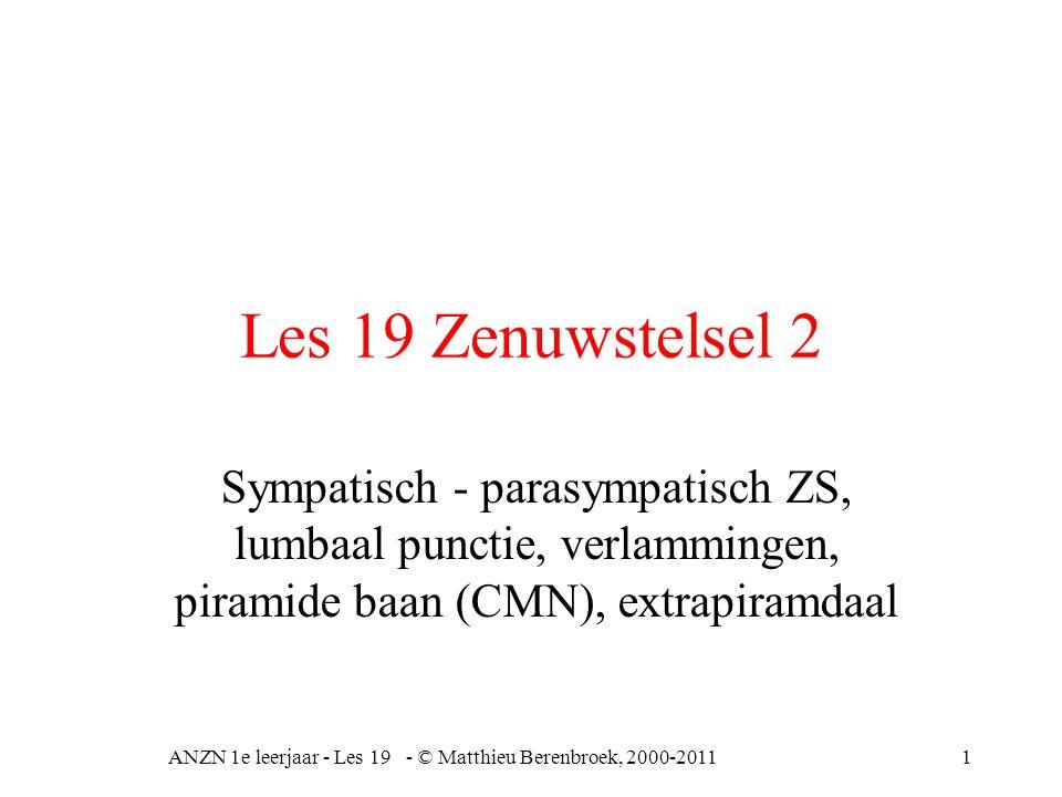 ANZN 1e leerjaar - Les 19 - © Matthieu Berenbroek, 2000-201112 Hersenzenuwen II = nervus opticus = optische oogzenuw, van netvlies naar hersenen, sensibele zenuw III, IV, VI = spieren oogbol en ooglid V = nervus trigeminus aangezicht (deel) VII = nervus facialis, aangezichtszenuw (deel) X = nervus vagus, zwevende zenuw, hart, ademhaling, slokdarm, buikingewanden, dus zowel parasympatisch als sympatisch (stembanden en strottenhoofd) Bij problemen eerst uitval VI abducens (oog)