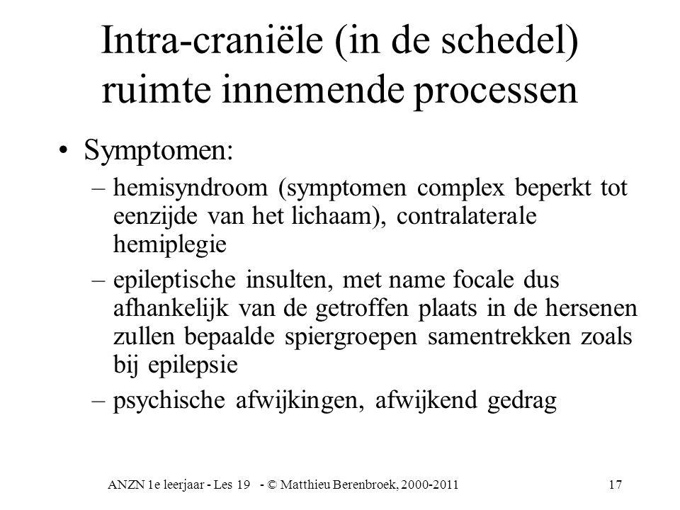 ANZN 1e leerjaar - Les 19 - © Matthieu Berenbroek, 2000-201117 Intra-craniële (in de schedel) ruimte innemende processen Symptomen: –hemisyndroom (sym