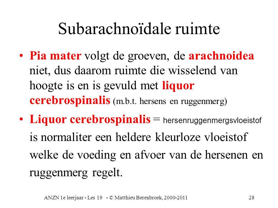 ANZN 1e leerjaar - Les 19 - © Matthieu Berenbroek, 2000-201128 Subarachnoïdale ruimte Pia mater volgt de groeven, de arachnoidea niet, dus daarom ruim