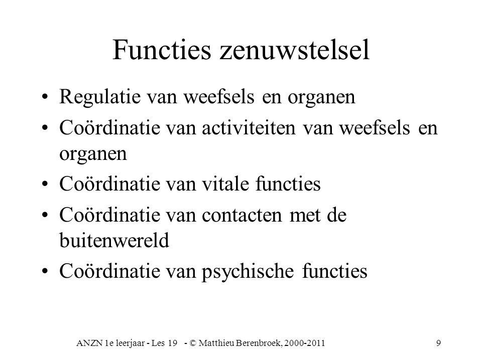 ANZN 1e leerjaar - Les 19 - © Matthieu Berenbroek, 2000-20119 Functies zenuwstelsel Regulatie van weefsels en organen Coördinatie van activiteiten van