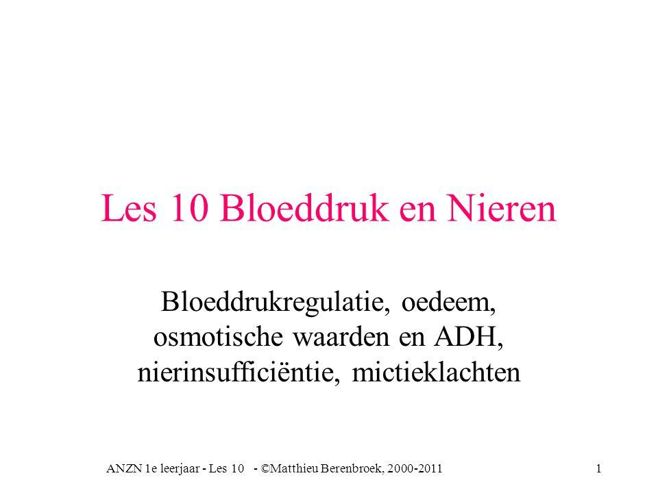 ANZN 1e leerjaar - Les 10 - ©Matthieu Berenbroek, 2000-201112 Bloeddrukverhogende werking angiotensine Renine Aldosteron Bloeddrukverhoging Bijnierschors + Vasoconstrictie arteriolen + [ Na + ]  Angiotensinogeen Angiotensine
