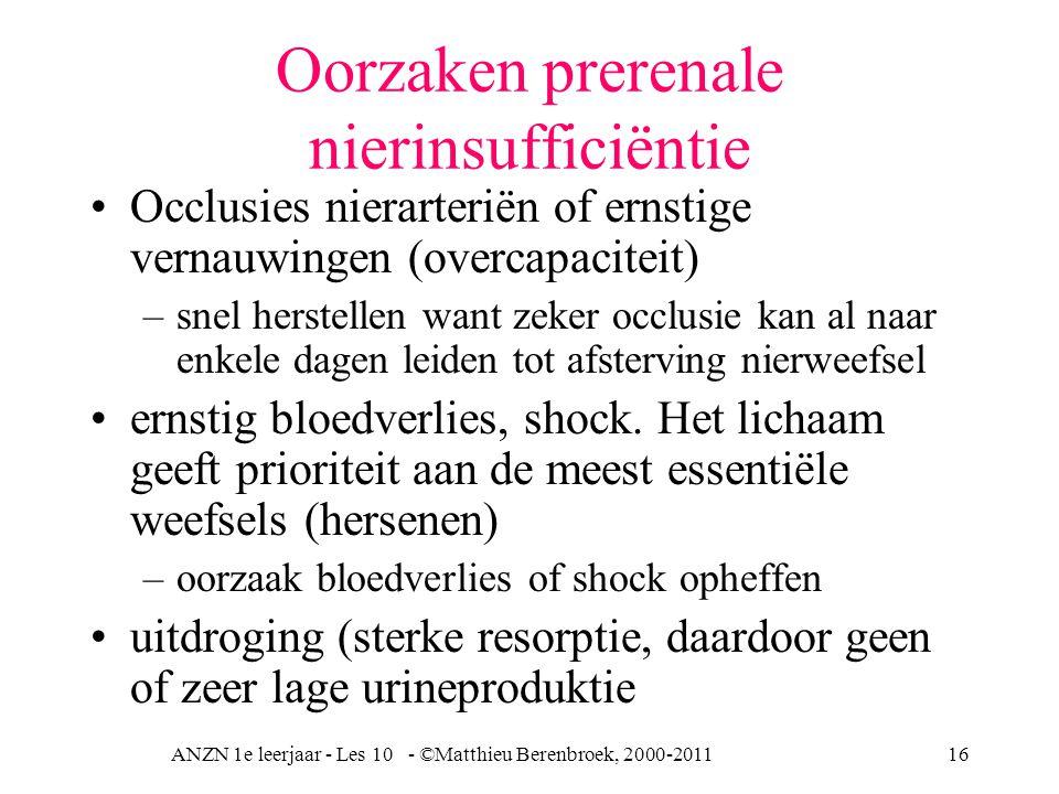 ANZN 1e leerjaar - Les 10 - ©Matthieu Berenbroek, 2000-201116 Oorzaken prerenale nierinsufficiëntie Occlusies nierarteriën of ernstige vernauwingen (overcapaciteit) –snel herstellen want zeker occlusie kan al naar enkele dagen leiden tot afsterving nierweefsel ernstig bloedverlies, shock.