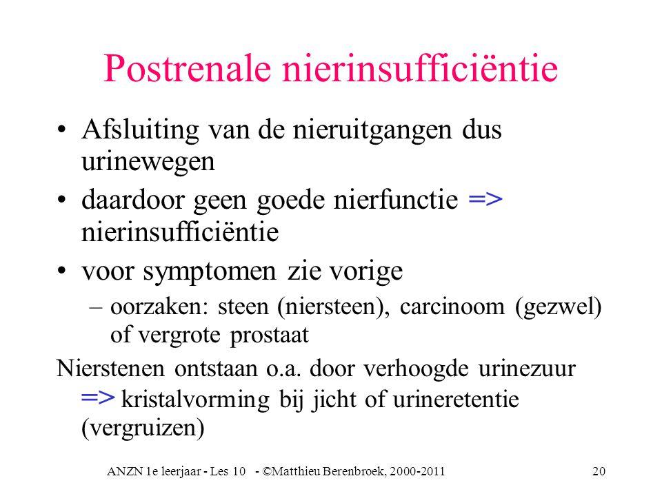 ANZN 1e leerjaar - Les 10 - ©Matthieu Berenbroek, 2000-201120 Postrenale nierinsufficiëntie Afsluiting van de nieruitgangen dus urinewegen daardoor geen goede nierfunctie => nierinsufficiëntie voor symptomen zie vorige –oorzaken: steen (niersteen), carcinoom (gezwel) of vergrote prostaat Nierstenen ontstaan o.a.