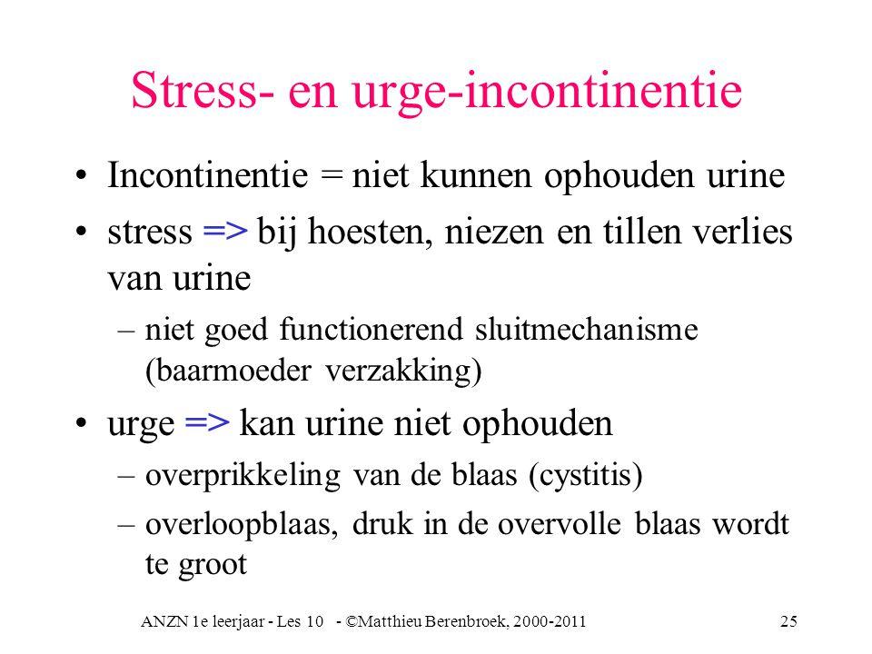 ANZN 1e leerjaar - Les 10 - ©Matthieu Berenbroek, 2000-201125 Stress- en urge-incontinentie Incontinentie = niet kunnen ophouden urine stress => bij hoesten, niezen en tillen verlies van urine –niet goed functionerend sluitmechanisme (baarmoeder verzakking) urge => kan urine niet ophouden –overprikkeling van de blaas (cystitis) –overloopblaas, druk in de overvolle blaas wordt te groot