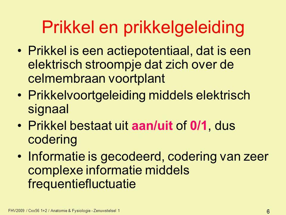 FHV2009 / Cxx56 1+2 / Anatomie & Fysiologie - Zenuwstelsel 1 6 Prikkel en prikkelgeleiding Prikkel is een actiepotentiaal, dat is een elektrisch stroompje dat zich over de celmembraan voortplant Prikkelvoortgeleiding middels elektrisch signaal Prikkel bestaat uit aan/uit of 0/1, dus codering Informatie is gecodeerd, codering van zeer complexe informatie middels frequentiefluctuatie