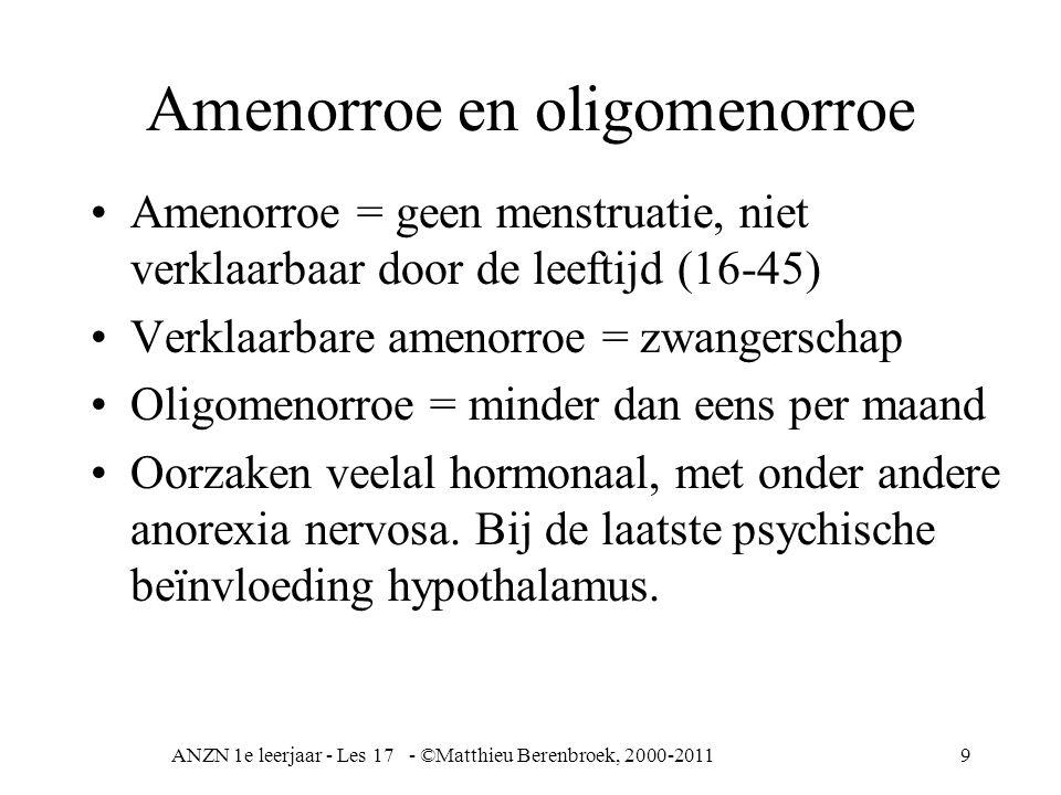 ANZN 1e leerjaar - Les 17 - ©Matthieu Berenbroek, 2000-20119 Amenorroe en oligomenorroe Amenorroe = geen menstruatie, niet verklaarbaar door de leefti