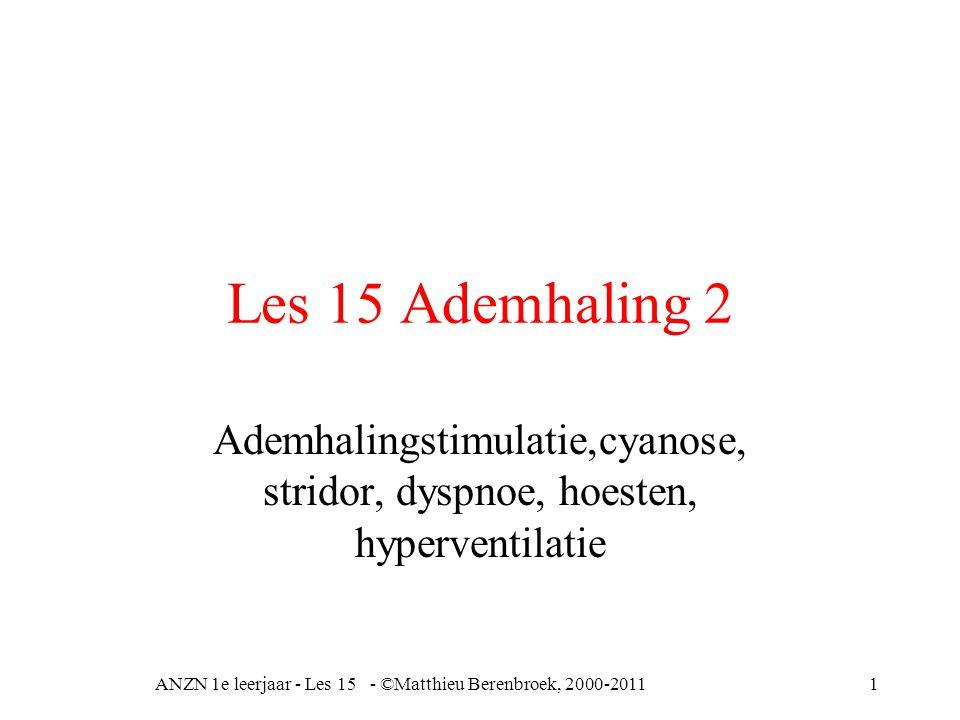 Les 15 Ademhaling 2 Ademhalingstimulatie,cyanose, stridor, dyspnoe, hoesten, hyperventilatie ANZN 1e leerjaar - Les 15 - ©Matthieu Berenbroek, 2000-20