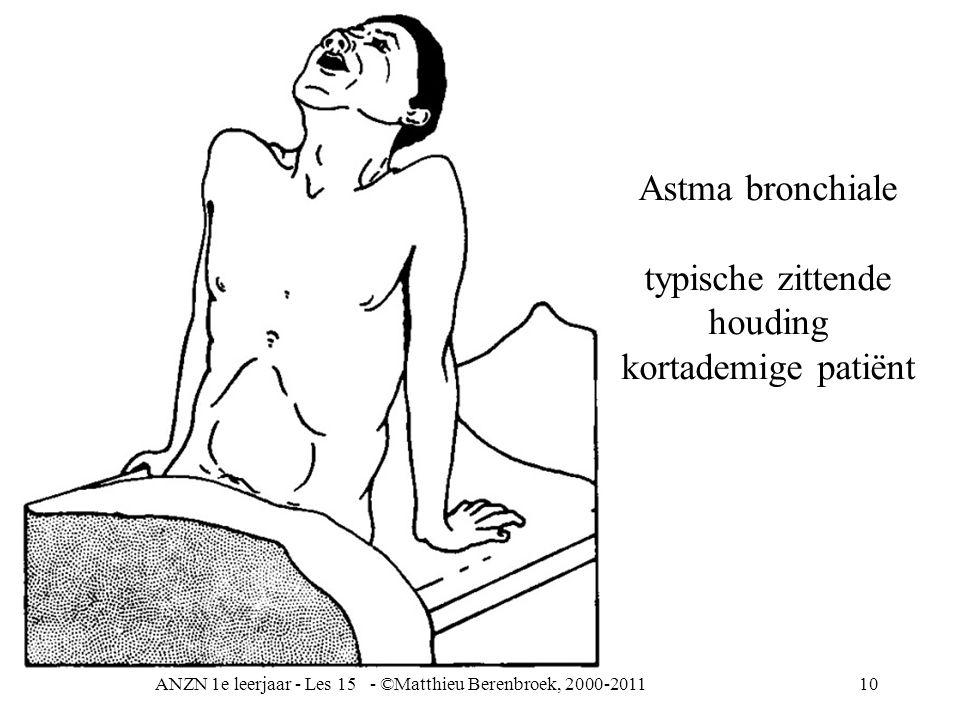 ANZN 1e leerjaar - Les 15 - ©Matthieu Berenbroek, 2000-201110 Astma bronchiale typische zittende houding kortademige patiënt
