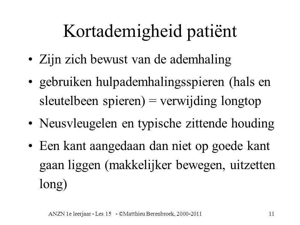 ANZN 1e leerjaar - Les 15 - ©Matthieu Berenbroek, 2000-201111 Kortademigheid patiënt Zijn zich bewust van de ademhaling gebruiken hulpademhalingsspier