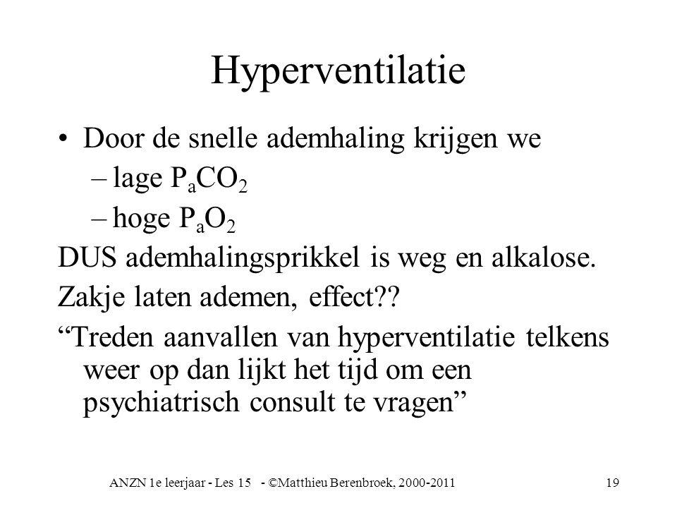 ANZN 1e leerjaar - Les 15 - ©Matthieu Berenbroek, 2000-201119 Hyperventilatie Door de snelle ademhaling krijgen we –lage P a CO 2 –hoge P a O 2 DUS ad