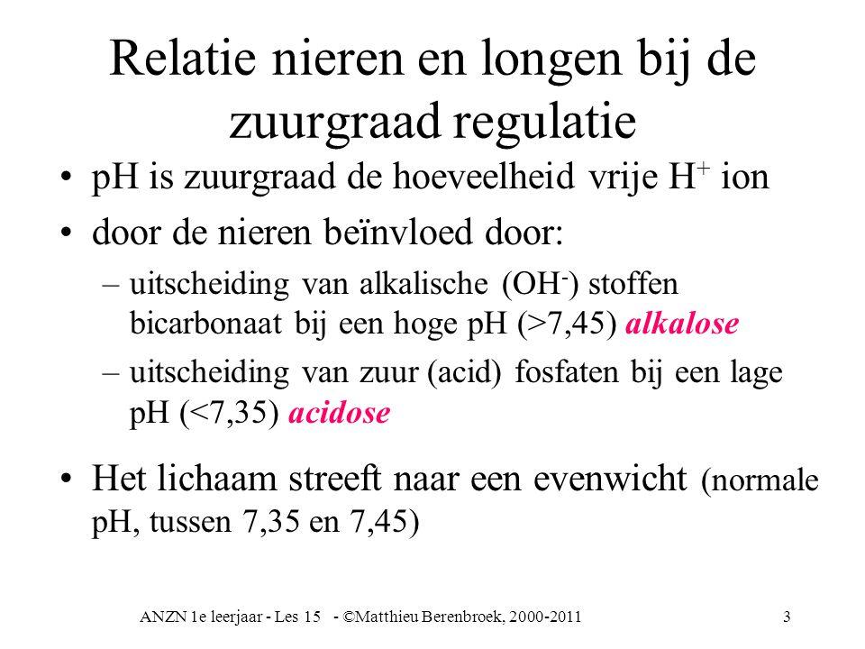 ANZN 1e leerjaar - Les 15 - ©Matthieu Berenbroek, 2000-20113 Relatie nieren en longen bij de zuurgraad regulatie pH is zuurgraad de hoeveelheid vrije