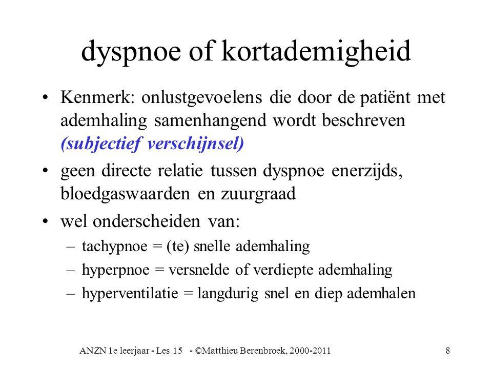 ANZN 1e leerjaar - Les 15 - ©Matthieu Berenbroek, 2000-20118 dyspnoe of kortademigheid Kenmerk: onlustgevoelens die door de patiënt met ademhaling sam