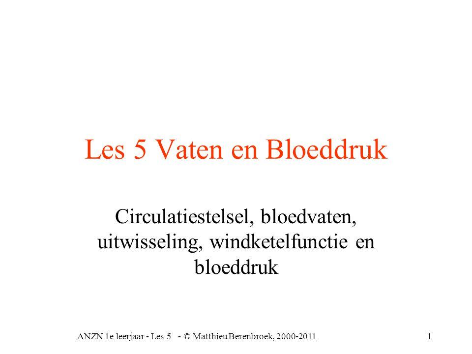 ANZN 1e leerjaar - Les 5 - © Matthieu Berenbroek, 2000-201122 Afhankelijk van systolische bloeddruk= hartpompwerking + vaatelasticiteit diastolische bloeddruk= sluiten halvemaanvormige kleppen, windketelfunctie, vaatweerstand